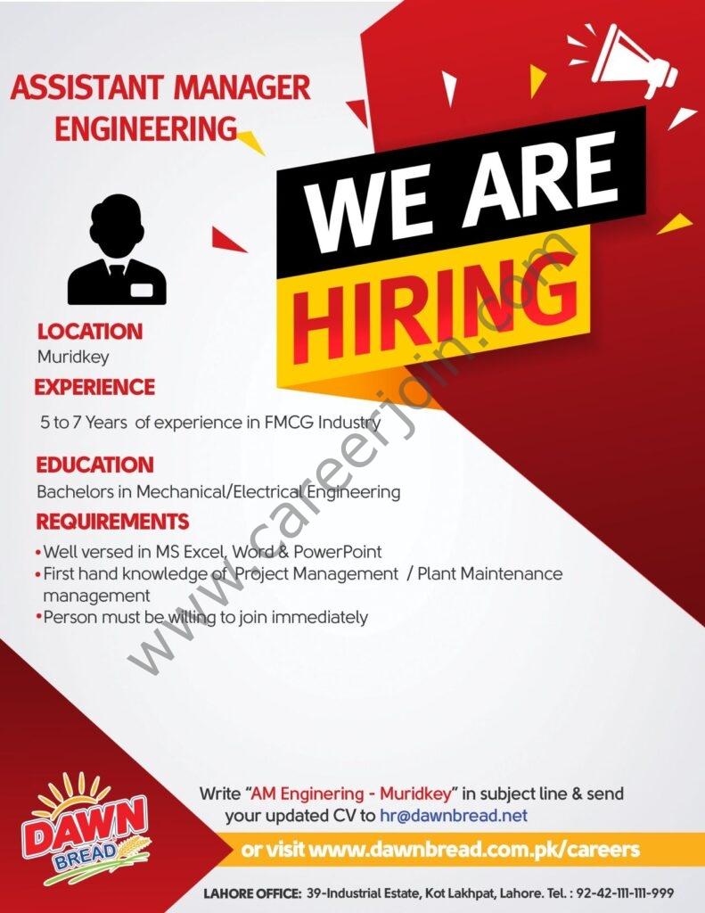 Dawn Bread Jobs 2021 For Assistant Manager Engineering Post - Apply via hr@dawnbread.net_