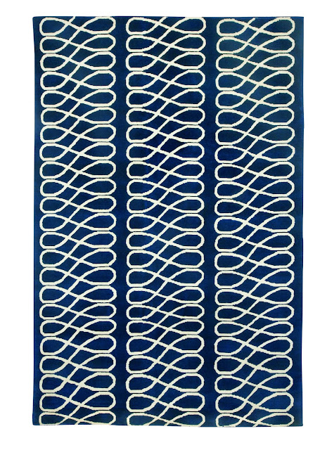 COCOCOZY Rug Loop Navy graphic pattern indo tibetan hand knot knotted wool modern