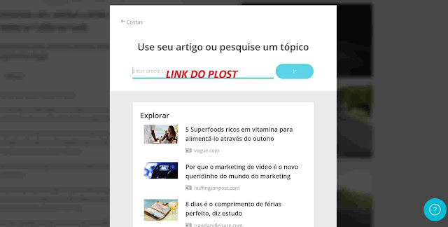 Inserindo link de post no Lumen5