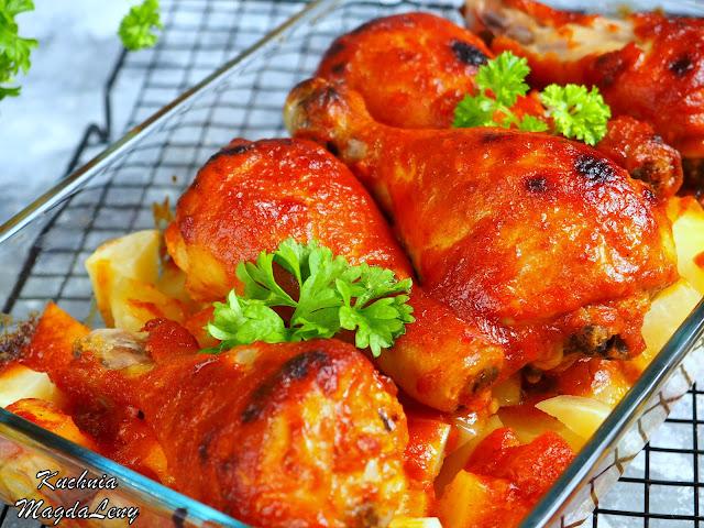 Pieczone podudzia z kurczaka w ketchupie