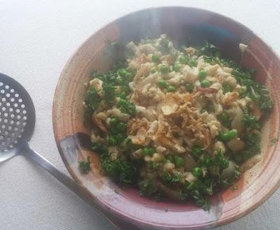 Ricotta Cheese Spaetzle with Peas, Shallots & Mushrooms