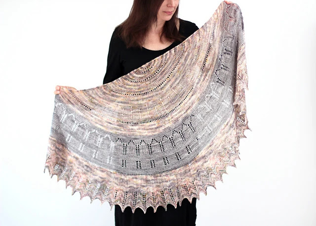 Two color shawl inspired by The Secret Garden.  Knit with fingering weight yarn.