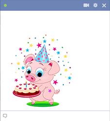 Sticker piggy with birthday cake