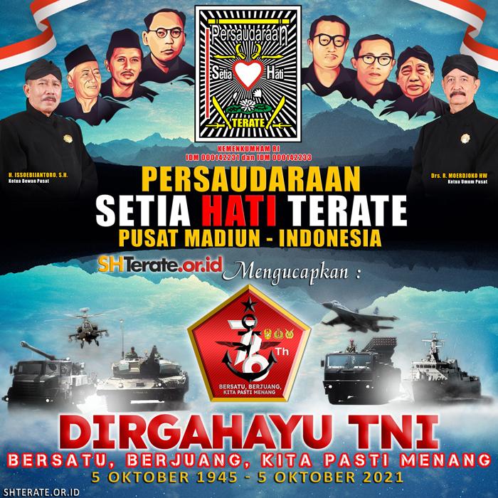 Banner PSHT mengucapkan Dirgahayu TNI Ke-76