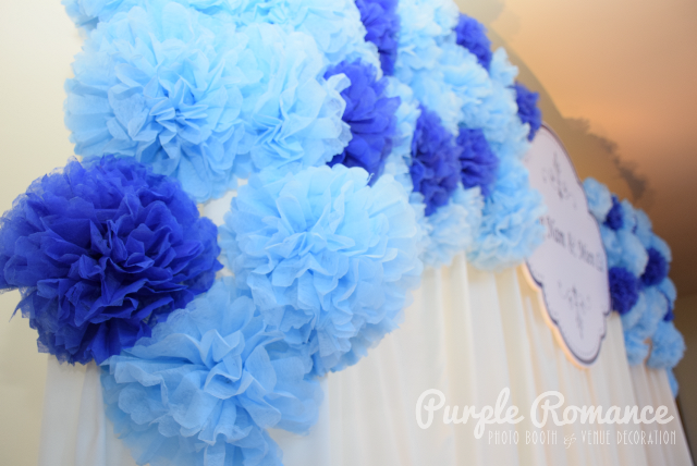 pom pom flower wedding backdrop decoration, light blue, dark blue, handmade, photo booth malaysia, instant print service, photo table, love corner, reception table decor, signage, welcome board, red carpet, flower stands, floral, pearl, props for photo taking, spotlight, logo, bird cages, garden, event styling, stylist, annual dinner, dorsett grand subang, subang jaya, petaling jaya, kuala lumpur, vendor, decorator, pastel, sweet, elegant, fairy lights