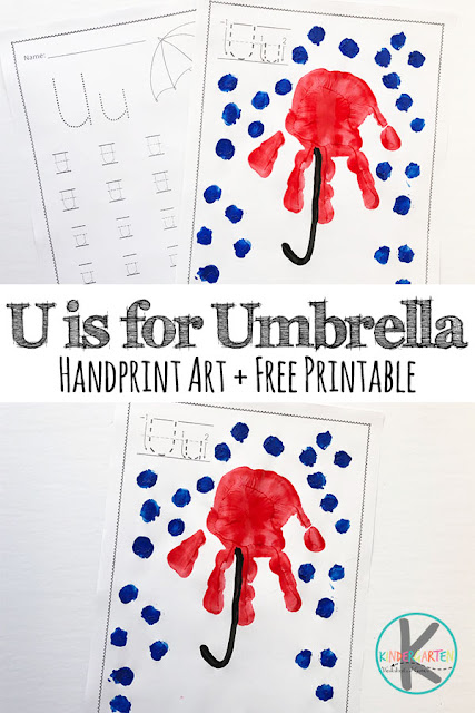 Letter U Handprint art & FREE Letter U Worksheets for preschool, prek, kindergarten, first grade