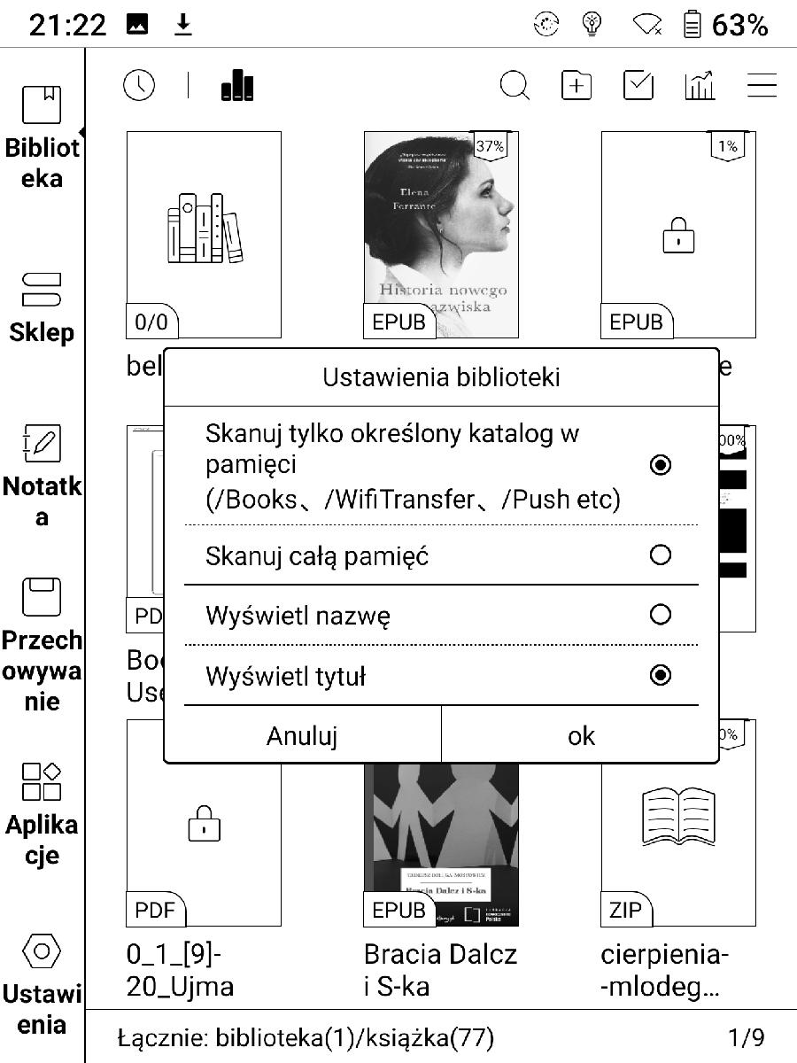 Ustawienia skanowania e-booków w bibiotece Onyx Boox Nova 2
