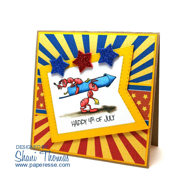 4th of July card featuring QKR Stampede Fire Cracker digital stamp, by Paperesse.