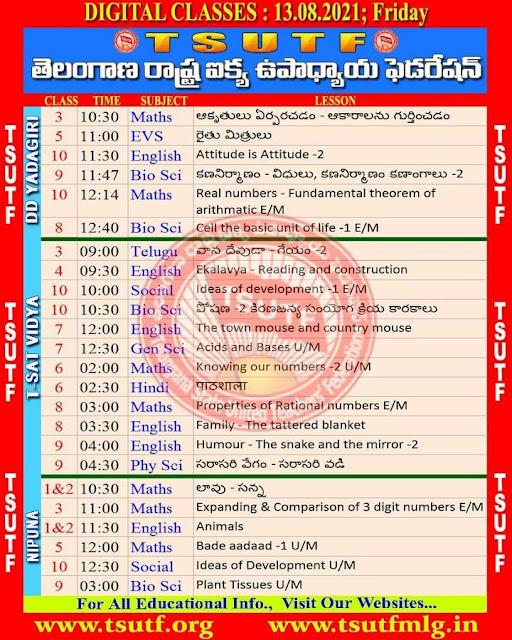 13-08-2021 TS SCERT Online Classes Schedule and Worksheets Download