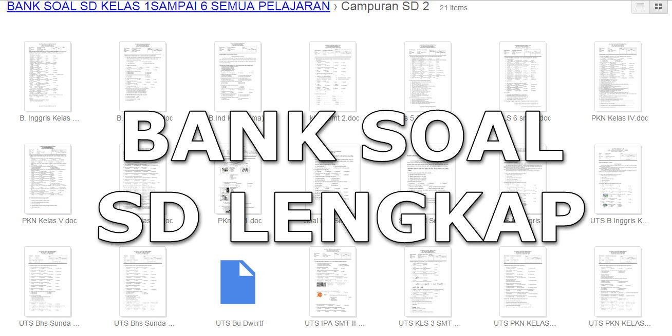 Kumpulan Bank Soal Sd Lengkap Semua Mata Pelajaran Kelas 1
