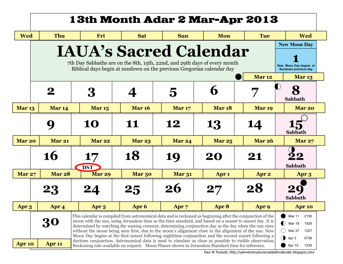 Iaua S True Lunar Solar Sabbath Calendar 13th Month Adar 2 March