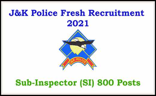 JKP SI JOBS: 800 POSTS APPROVED BY JK GOVT (JK POLICE SUB-INSPECTOR)
