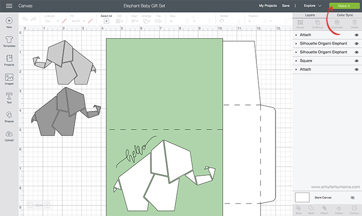 Elephant Baby Project in Cricut Design Space