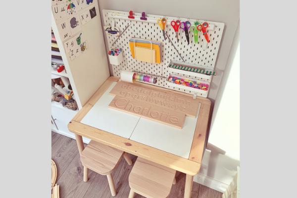 Ikea flisat table skadis pegboard desk with wooden alphabet board