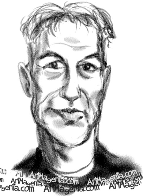 Mark Harmonis caricature cartoon. Portrait drawing by caricaturist Artmagenta.
