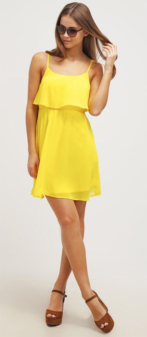 Robe courte d'été jaune Even&Odd