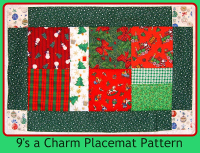 9's a Charm Free placemat pattern Sew Joy Creations