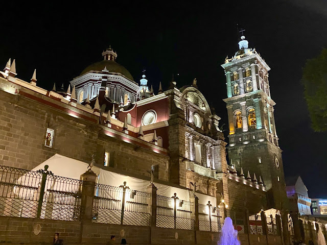 Pueblo Cathedral by the Zocalo at night, Mexico