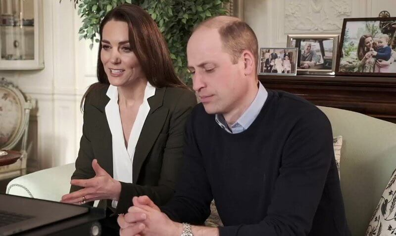 Kate Middleton wore an army green duchess blazer from Smythe. Kate also wore a white blouse from UFO, and hoop earrings