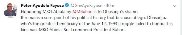 """Because Of Ego, Honouring MKO Abiola By Buhari Is To Obasanjo's Shame"" -  Peter Ayodele Fayose"