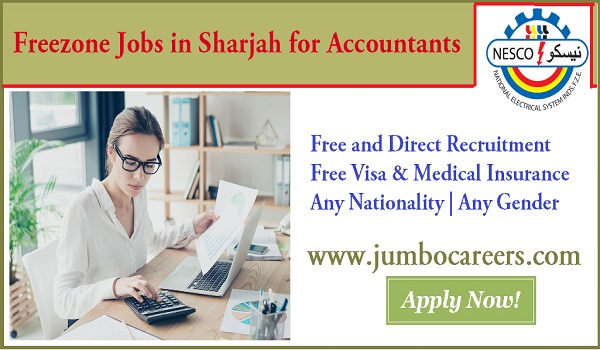 Sharjah office job vacancies with benefits, Accountant jobs openings in Sharjah,