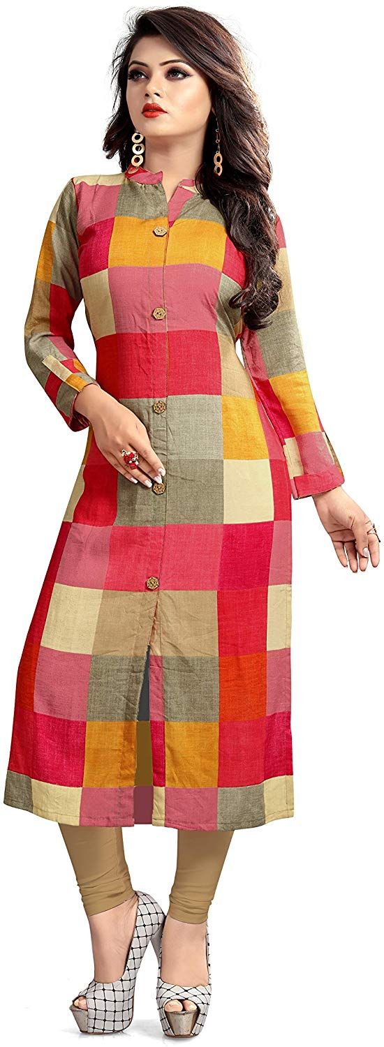 FashionKhoj Women Rayon Kurti Pink Checks