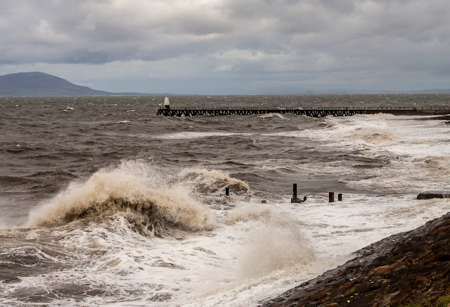 Photo of high winds whipping up the waves at Maryport
