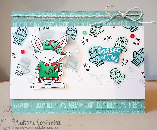 Bunny in Sweater Card by Yukari Yoshioka | Inky Paws Challenge 38 | Sweater Weather Stamp Set by Newton's Nook Designs #newtonsnook