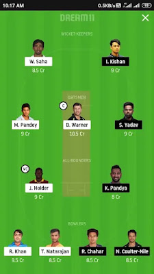 SRH vs MI dream 11 prediction