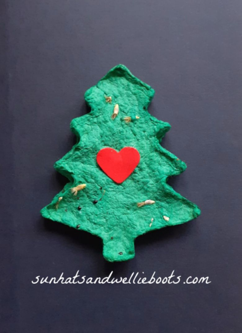 Seed paper Christmas tree craft for kids