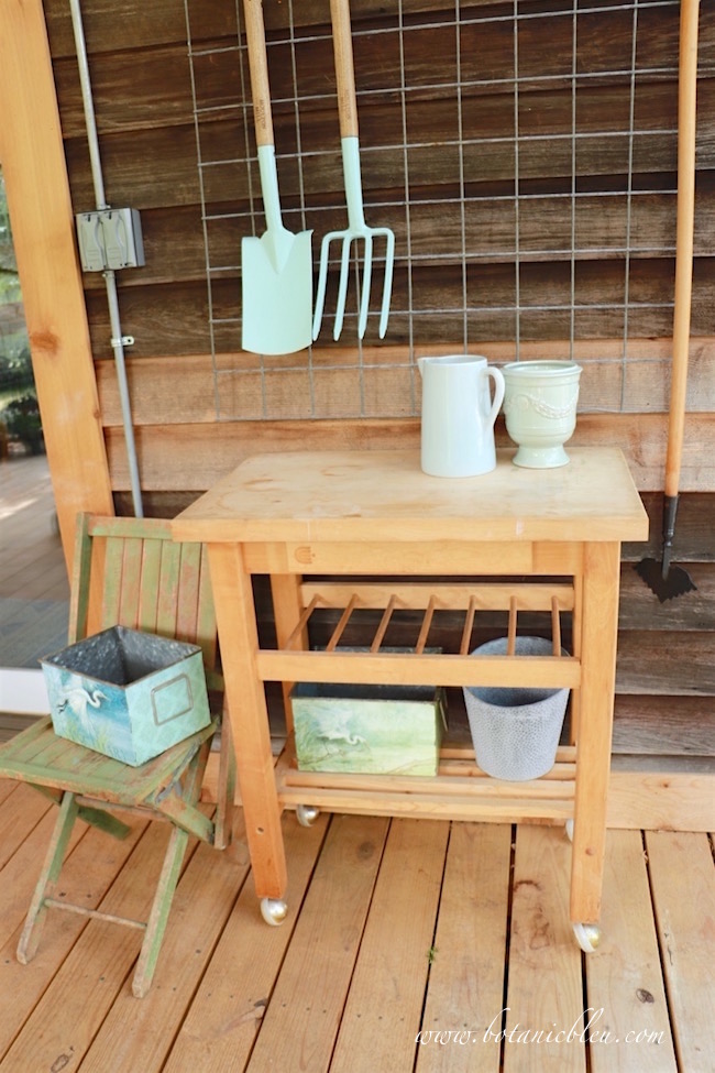 butcher-block-cart-creates-potting-bench-area