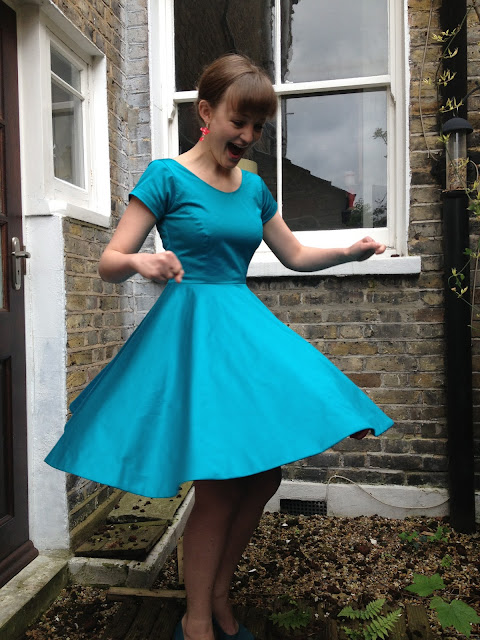 Diary of a Chainstitcher By Hand London Elisalex Dress Sewing Pattern with circle skirt made in Mood Fabrics teal cotton sateen
