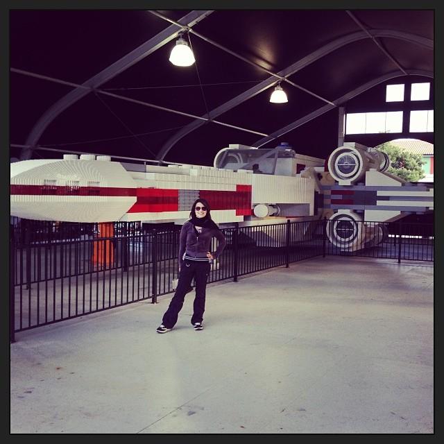 ming-na wen with giant x-wing lego