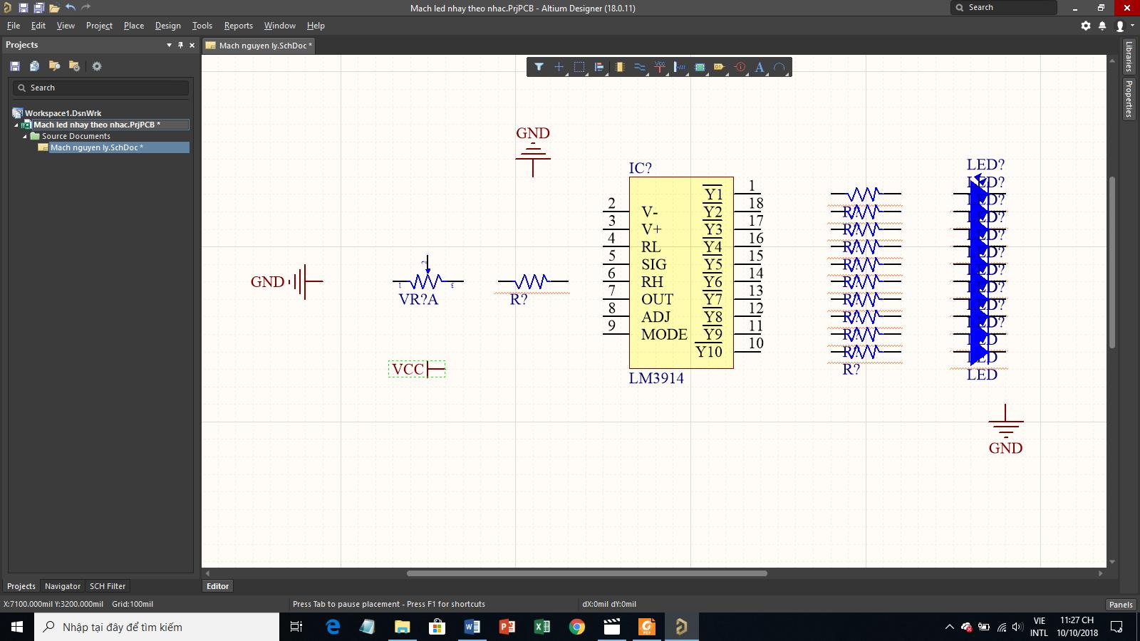 Hướng dẫn thiết kế Mạch đèn nháy theo nhạc trên Altium Designer (P1)