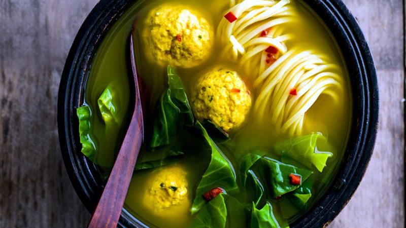 Turmeric broth with chicken and ginger dumplings