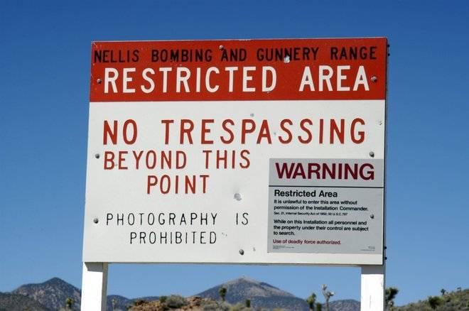 Restriction Board near Area 51
