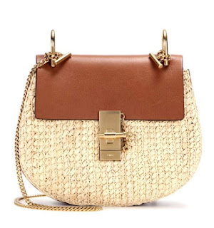"Chloe ""Drew"" leather and raffia shoulder bag"