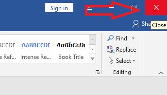 Klik Tanda Silang Untuk Menutup Program Microsoft Word