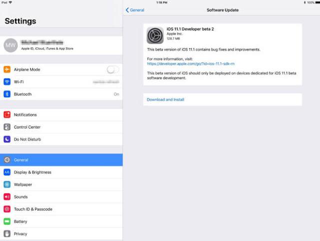 iOS 11.1 beta 2 تحديث