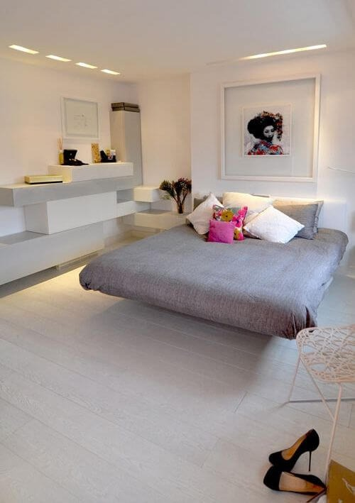 Floating bed in the bedroom