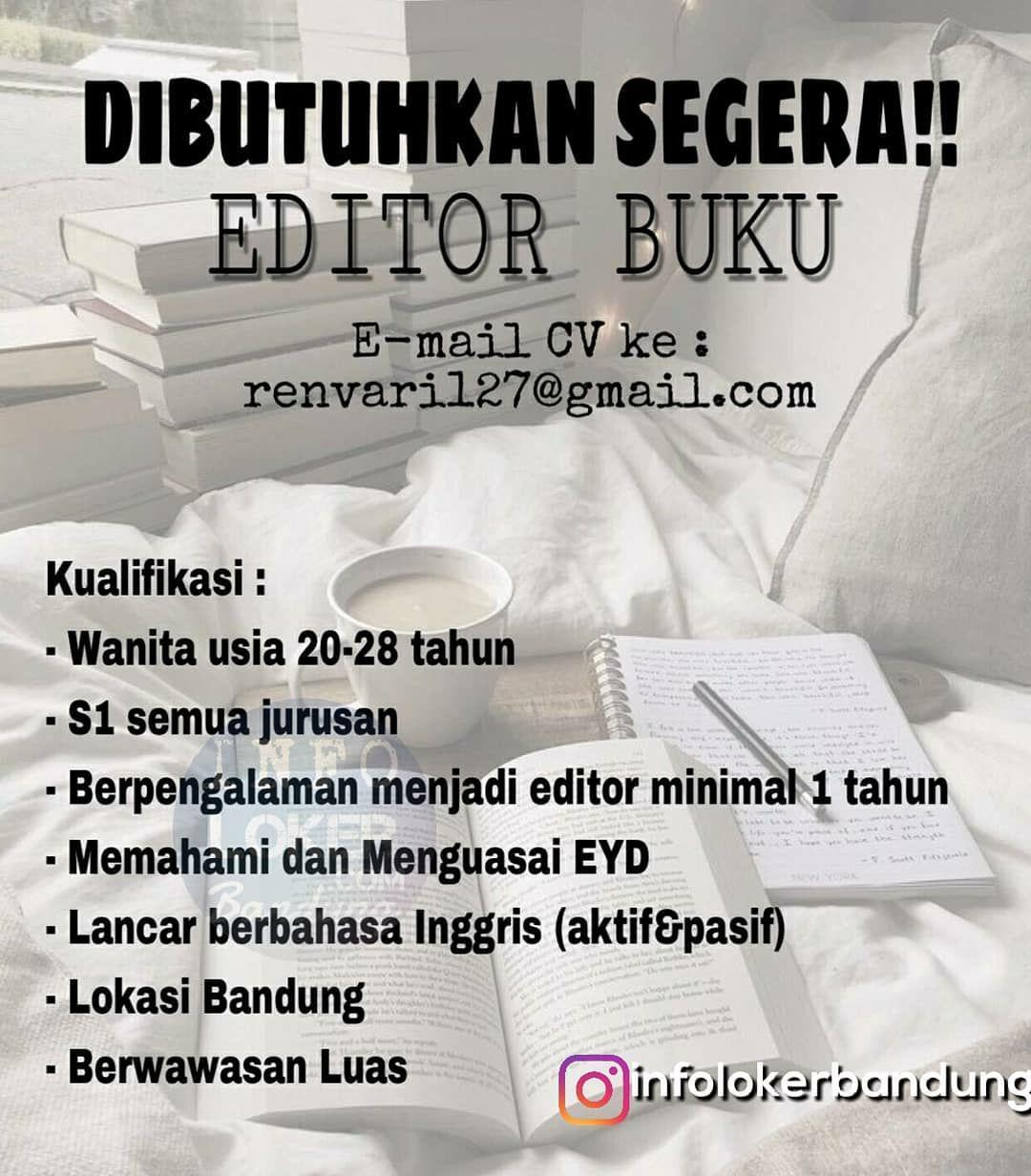 Lowongan Kerja Editor Buku Bandung Oktober 2018