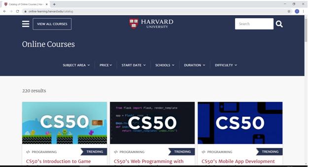 in learning Harvard homepage