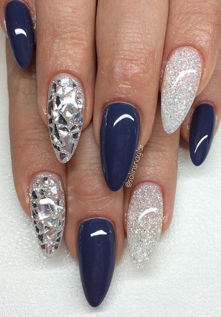 """""""Thunder Blue"""" med Diamond och silverflakes"""