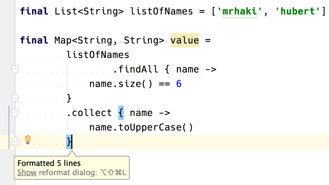 Groovy Goodness: IntelliJ IDEA Formatting Of Closure Chains