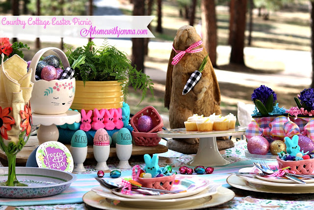 pastel, outdoor, Easter, Cottage, tablescape, picnic, athomewithjemma.com