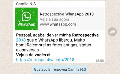 Pessoal, acabei de ver minha *Retrospectiva 2018* que o WhatsApp liberou. Muito bom! Relembrei as fotos antigas, status e conversas  *Veja a de vocês ai*  https://retrospectiva.info/2018