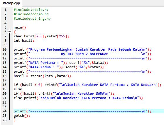 contoh program fungsi strcpm bahasa c