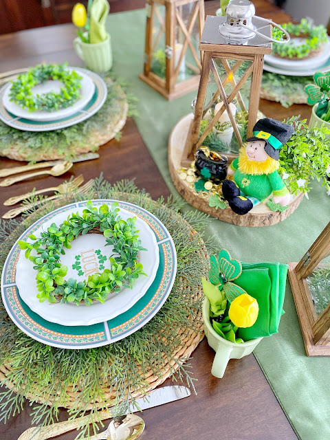 Leprechaun and Lanterns Tablescape.