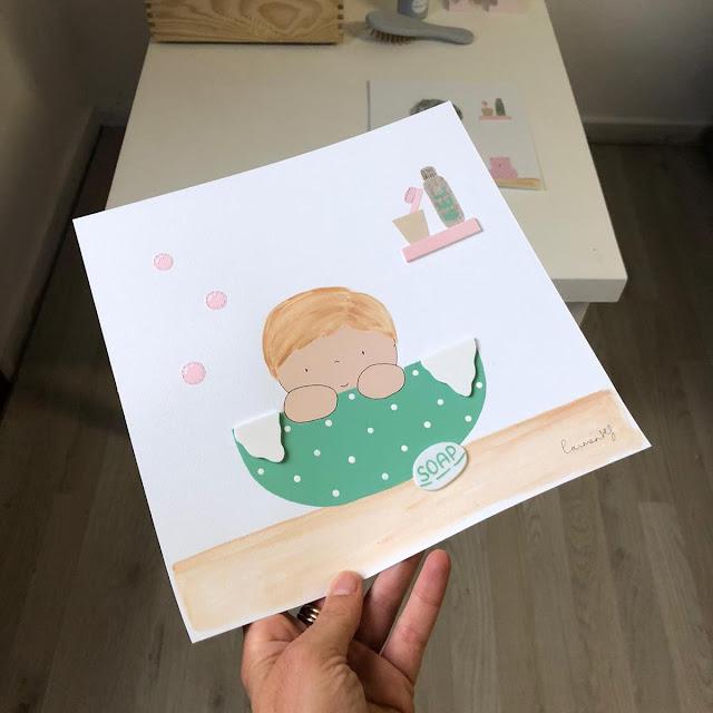 lámina personalizada decoración baño infantil