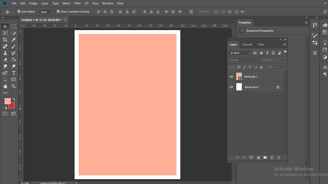 Buat dokumen baru dan tambahkan kotak di dalam canvas